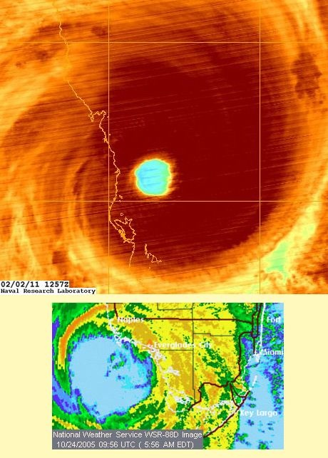 Severe Tropical Cyclone Yasi 2011 & Hurricane Wilma in 2005. Is that a message in the eye ?