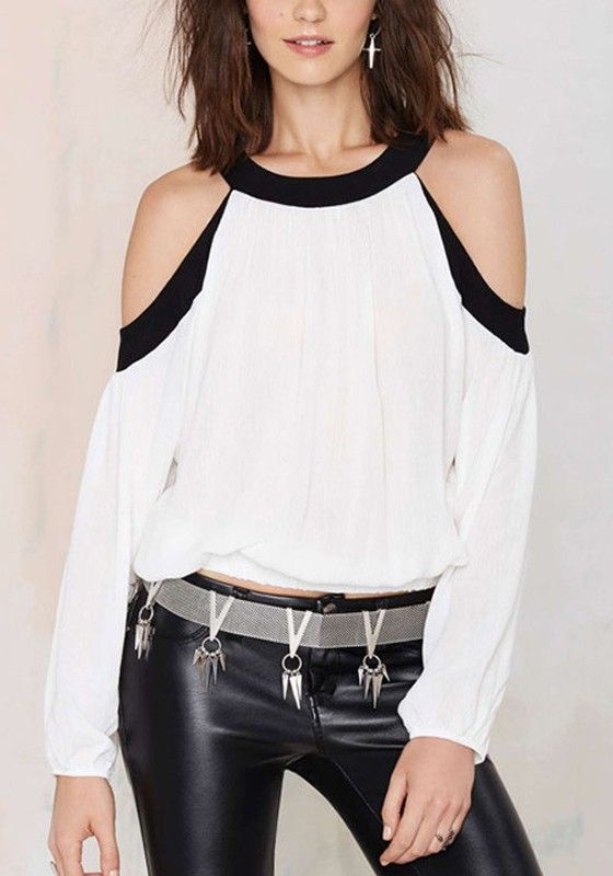 White Plain Cut Out Round Neck Streetwear Chiffon Blouse