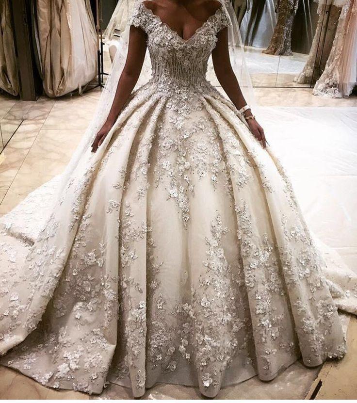 Luxury arabic wedding dress flowers with full beading 2016 wedding