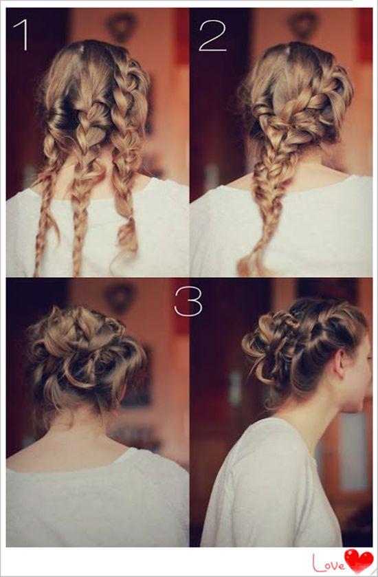 three braided hair updo for 2014 with clip in 18 inch brown hair extensions