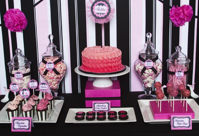 PINK BIRTHDAY IDEAS: Pink Poodle, Sweet Tables, Candy Bar, Black White, Candy Tables, Parties Ideas, Parties Desserts, Desserts Tables, Poodle Tables