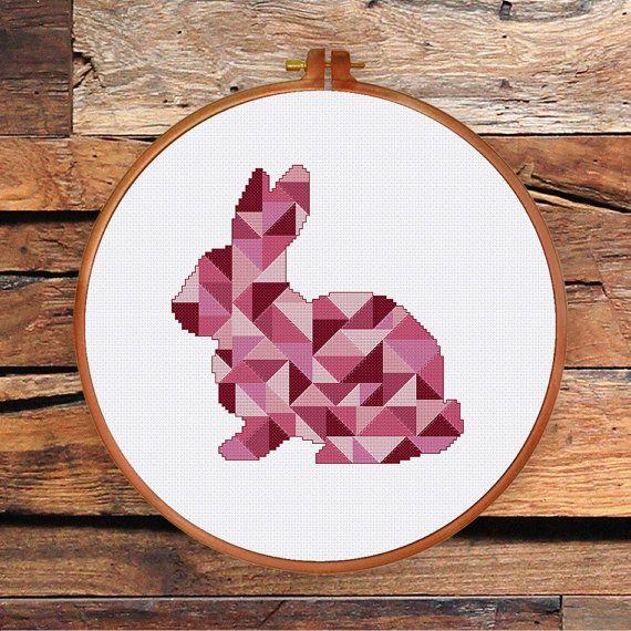 Geometric Bunny cross stitch pattern cross stitch by ThuHaDesign