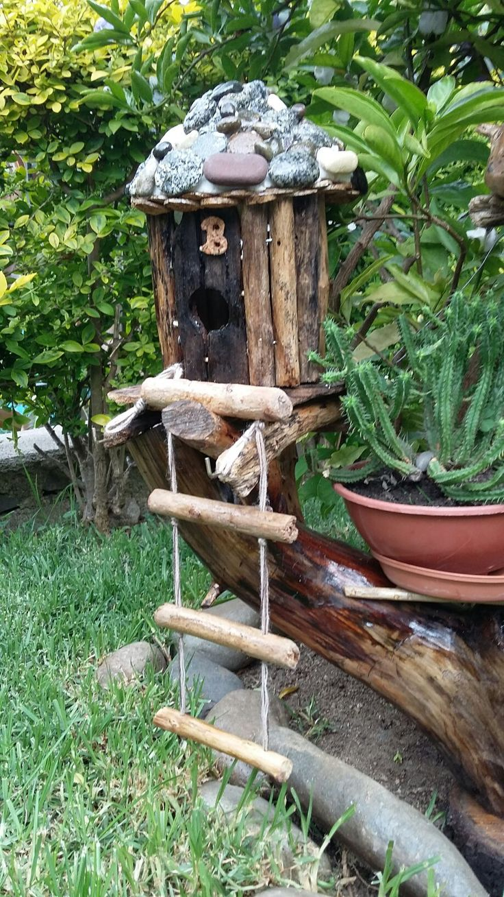 Artesanía casa de madera en miniatura para el jardín