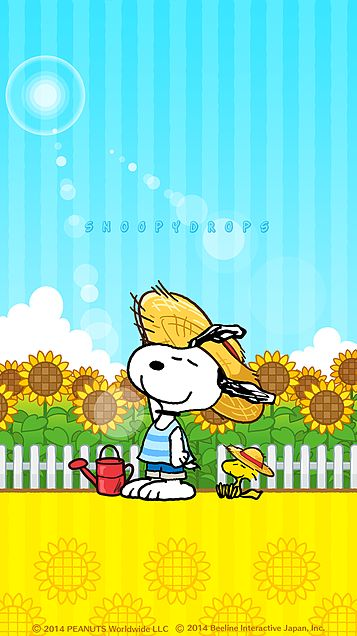 Snoopy and Woodstock Wearing Straw Hats Near Some Sunflowers