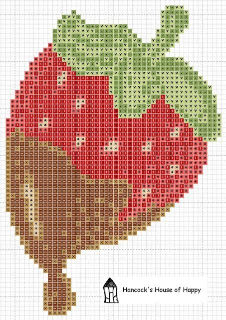 Chocolate Strawberries in cross stitch