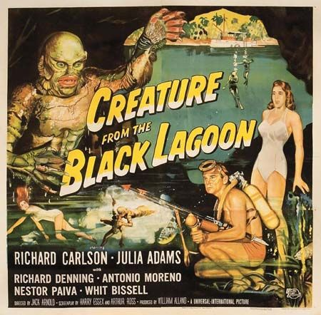 Creature from the Black Lagoon:  Sort of an underwater beauty and the beast. Not bad for a guy in a rubber suit.
