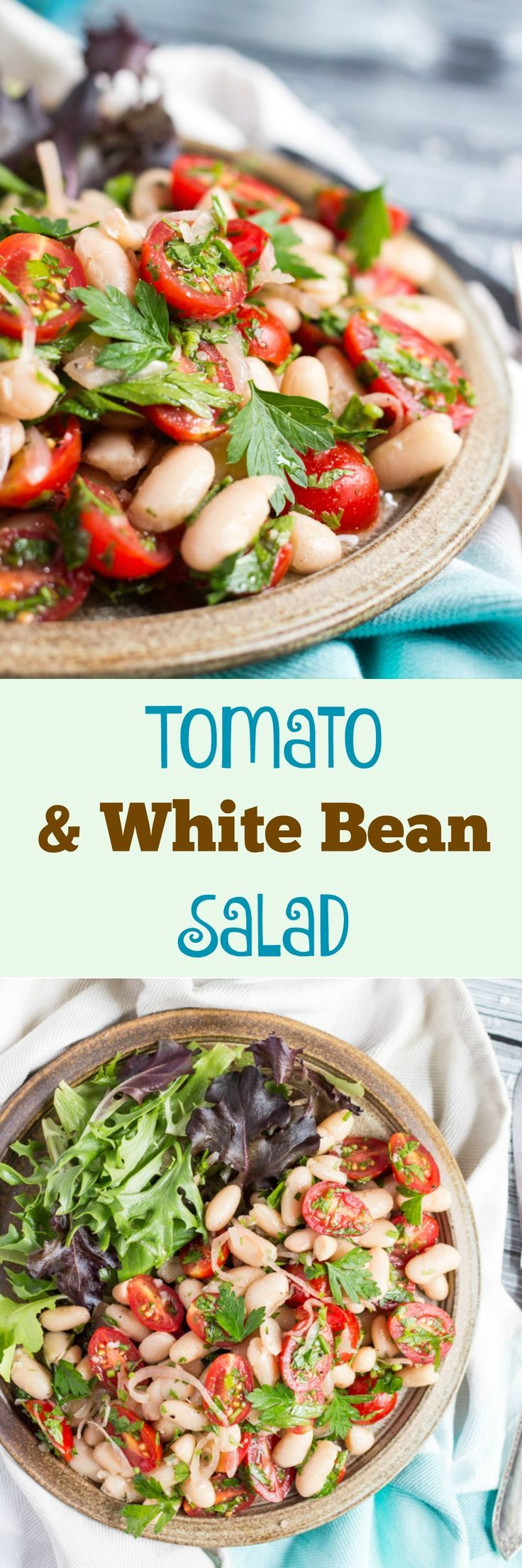 Tomato & White Bean Salad - An easy side dish that takes 10 minutes to make. Add some crusty bread and green leaves for a simple main meal.