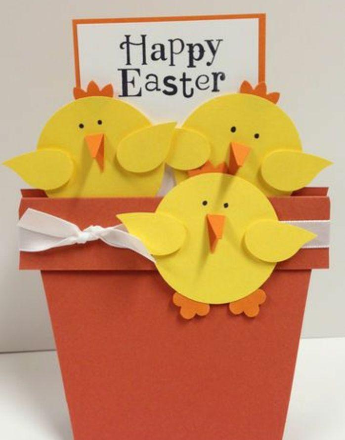 pot-de-fleur-en-papier-marron-poussins-de-paques-jaunes-en-papier-ruban-blanc-idée-de-carte-de-paques-originale