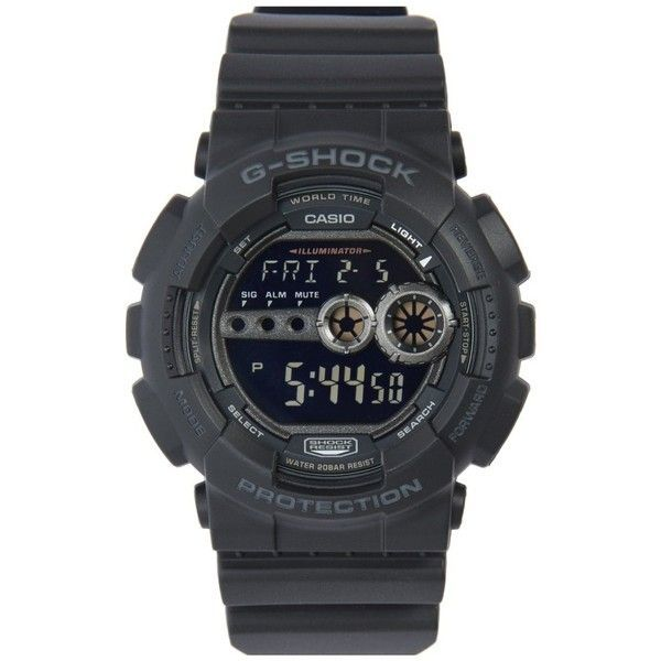 G-Shock 'super Luminosity' Digital Watch, 48Mm (290 BRL) ❤ liked on Polyvore featuring jewelry, watches, black, casio wrist watch, alarm wrist watch, digital watches, sporty watches and world time watches