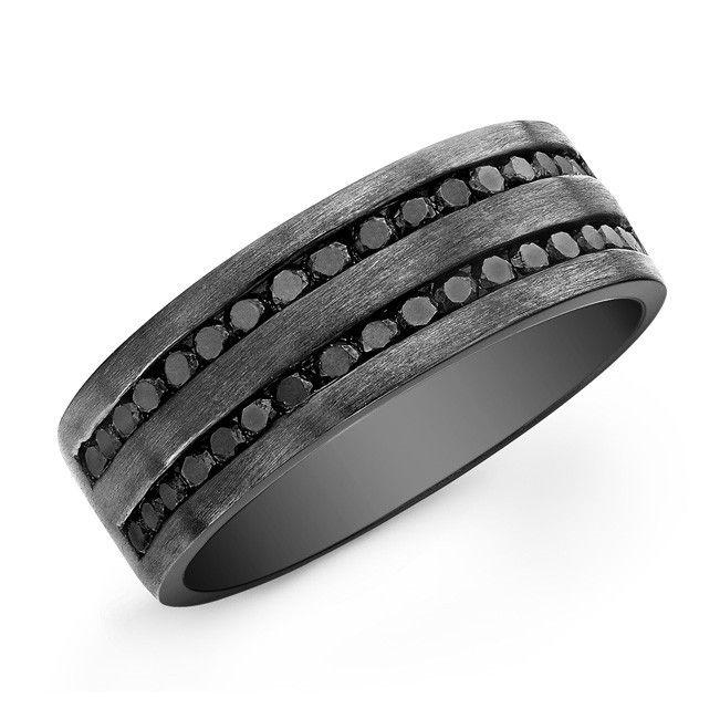 Mens Wedding Bands with Black Diamonds