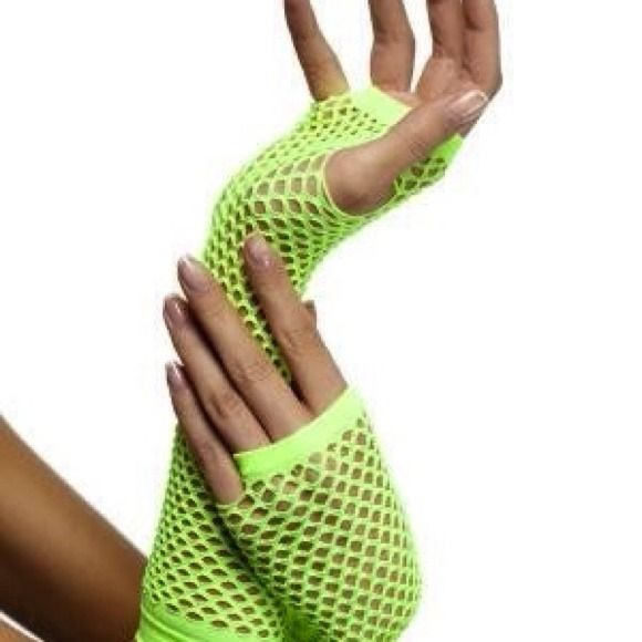 Neon fishnet gloves Brand new. Neon fishnet gloves. Wear them roller skating or exercising. Accessories Gloves & Mittens