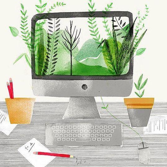 Office greensGreen Desk Policy Illustration Naomi Elliott. Seen on HappyMakersBlog.com