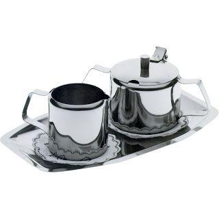 Set pentru frisca si zahar, model drept - otel inoxidabil 3-bucati zaharnita 20 cl, canita pentru frisca  15 cl , un set in cutie - 230x130 mm