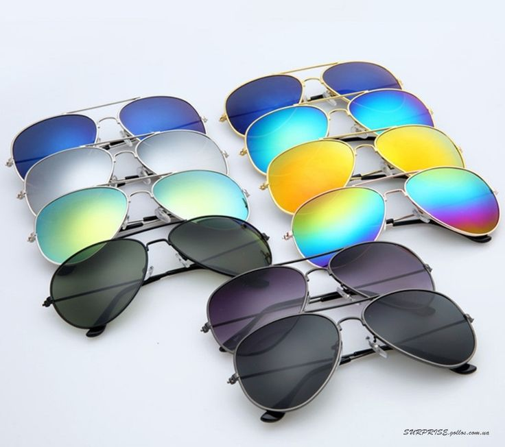 Зеркальные солнцезащитные очки-авиаторы с металлической оправой (в наличии)
