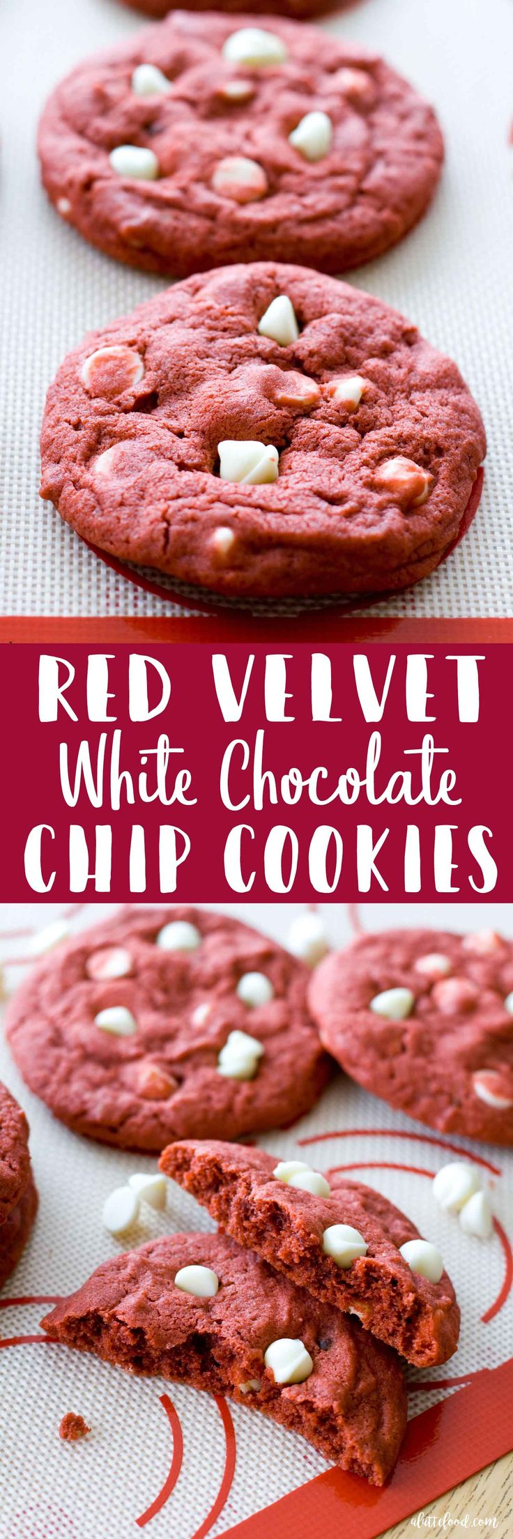 These Red Velvet White Chocolate Chip Cookies are a red velvet dream! All of the classic red velvet cake flavors are inside of a thick, chewy, rich chocolate chip cookie. One bite and you are sure to be in red velvet cookie heaven!