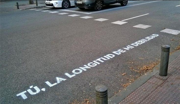 'Tú, la longitud de mi debilidad', frase de los pasos de cebra de 'Madrid te comería a versos'