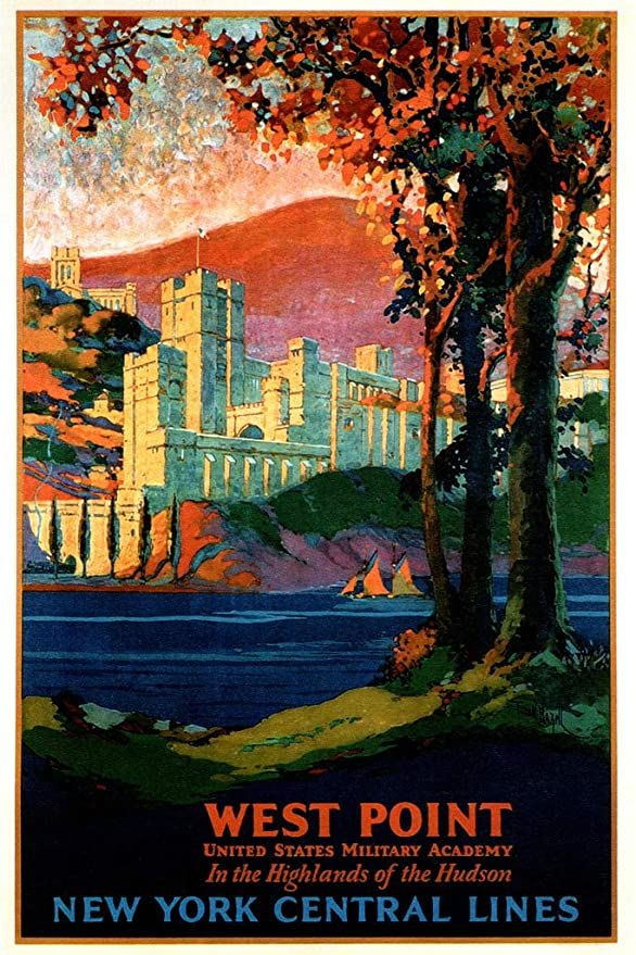 Amazon Com West Point Hudson Valley New York Central Lines Train Railroad Vintage Illustra In 2020 New York Central United States Military Academy Retro Travel Poster
