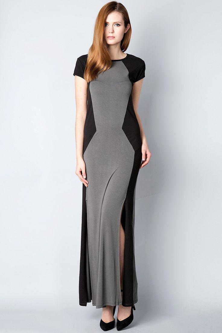 x Темно-серое платье с разрезами Silvian Heach