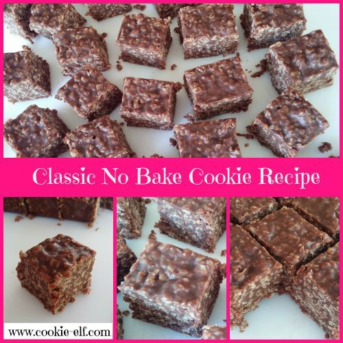 The classic No Bake Cookie recipe! Easy - just 7 ingredients. Make it as drop cookies or in bars. Get the recipe: http://www.cookie-elf.com/no-bake-cookie-recipe.html#sthash.0eyLfBHM.dpbs