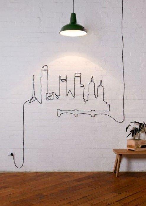 {Solução criativa para usar o fio aparente como decoração}