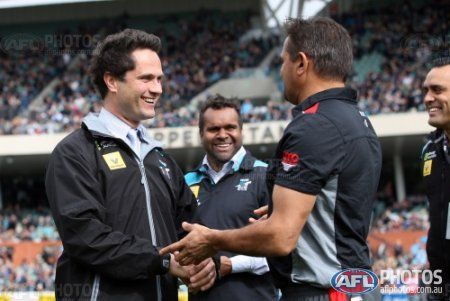 ADELAIDE, AUSTRALIA - AUGUST 2: Gavin Wanganeen and Byron Pickett with Former Saints champion Nicky Winmar ahead of the 2015 AFL round 18 match between Port Adelaide Power and the St Kilda Saints at Adelaide Oval, Adelaide, Australia on August 2, 2015. (Photo by AFL Media)