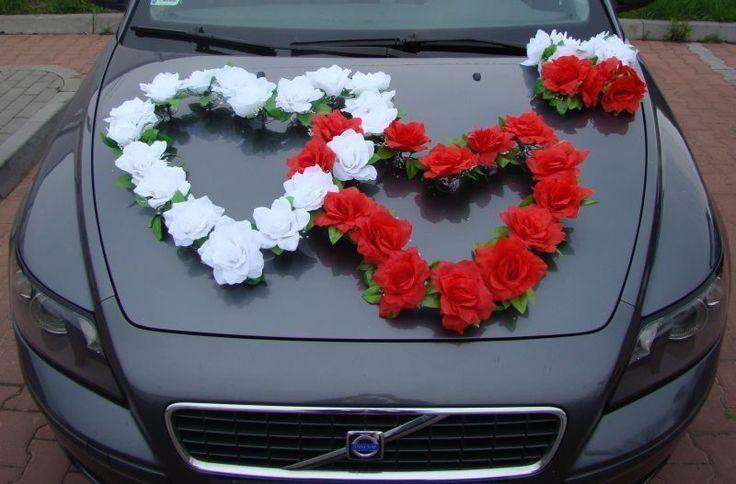 DOPPEL HERZ Auto Schmuck Braut Paar Rose Deko Dekoration 12 Farben Hochzeit