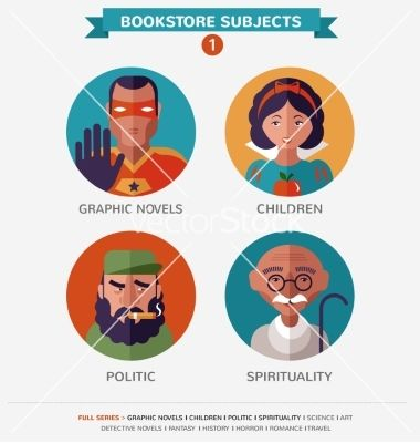 Bookstore subjects flat icons and characters vector by ma_rish on VectorStock®