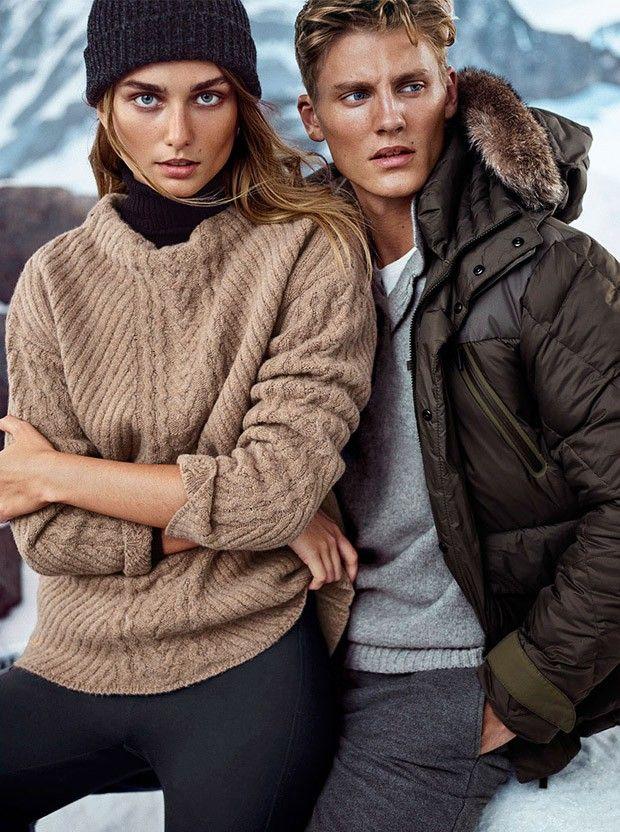 Andreea Diaconu and Mikkel Jensen for Massimo Dutti Apres Ski FW 2015
