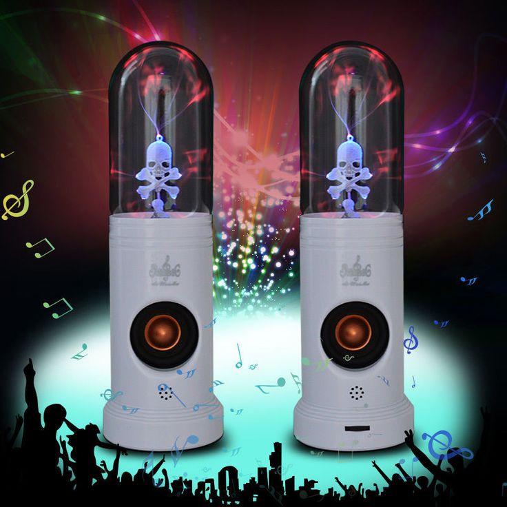 Magic Electrostatic Plasma Skull Head Speaker MP3 Player,Pair of Touch Lighting Skull Head Hifi Subwoofer Speaker for PC,laptops