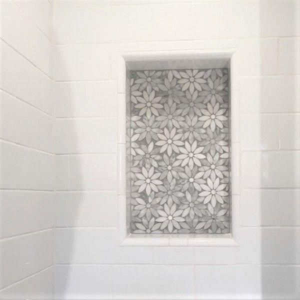 Daisy Flower Design White Marble Mosaic White Marble Mosaic Marble Mosaic Mosaic Shower Tile