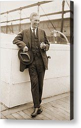 Louis Brandeis (1856-1941)  Supreme Court on an ocean liner in 1925, looking very happy for a serious man.  It suits him! Canvas Print by Everett