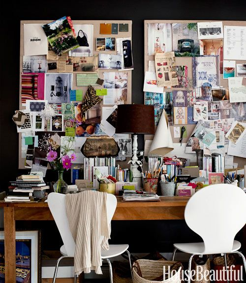 Office with Pottery Barn twin Pottery Barn Linen Pinboards over desk for two: