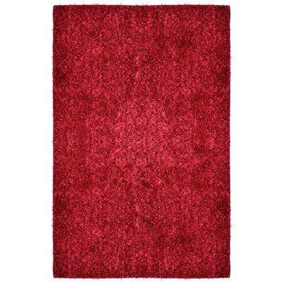 "Rug Studio City Shag Red Area Rug Rug Size: 5' x 7'6"""