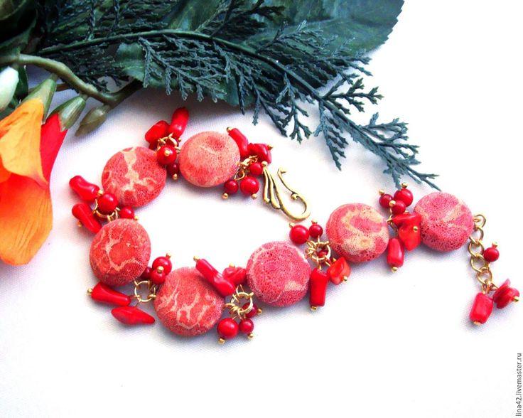 """Купить Браслет """"Красное море"""" - украшения алёны линьковой, браслет, купить браслет, комплект украшений"""