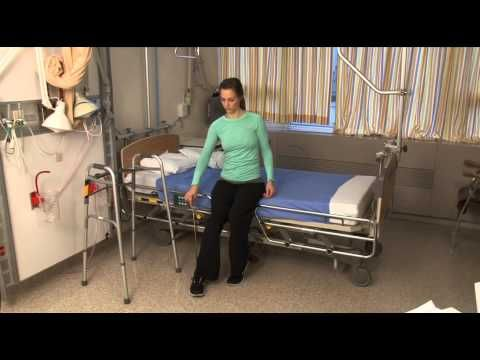 How to get into bed after hip replacement surgery - YouTube