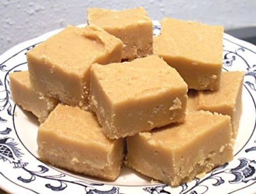 Super Easy PB Fudge :: 2 cups sugar, 1/2 cup milk, 1 tsp. vanilla, 3/4 cup peanut butter. Bring sugar and milk to a boil. Boil two and a half minutes. Remove from heat and stir in PB and vanilla. That's it. (I've made this!)
