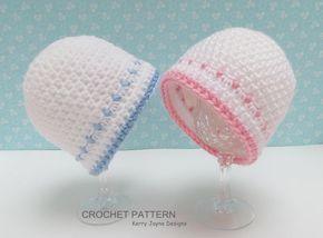 Dinky Dot Hat Cochet pattern Baby Hat by KerryJayneDesigns