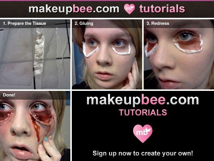 halloween makeup diy -- how to use liquid latex, tissue and eyeshadow to create saggy/stretchy eye skin