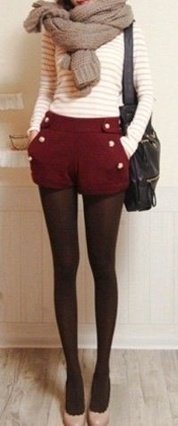 Shorts + tights. Perfect fall style