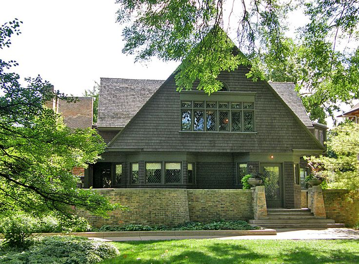 """Wright's first home  In 1889, he married his first wife, Catherine Lee """"Kitty"""" Tobin, purchased land in Oak Park, IL and built his first home, and eventually his studio there. His marriage to Kitty Tobin, the daughter of a wealthy businessman, raised his social status, and he became more well-known."""