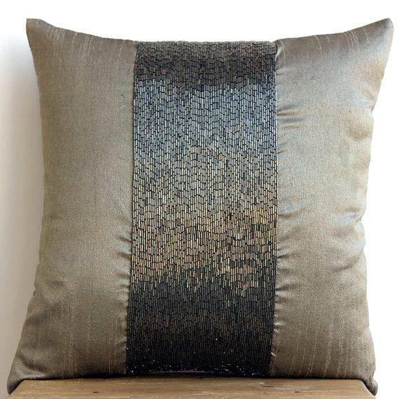 silver grey throw pillows cover square metallic beaded