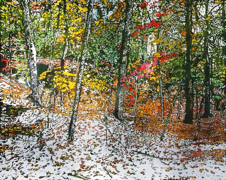"overnight snowfall (54) crossing paths with lingering autumn 24"" x 30"" micheal zarowsky / mixed media (watercolour / acrylic painted directly on gessoed birch panel) available $2100.00"