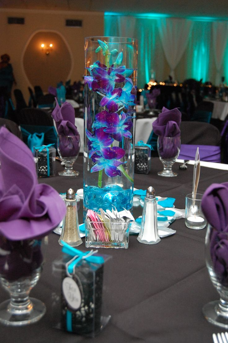 Blue and purple floating flower centerpiece with led light
