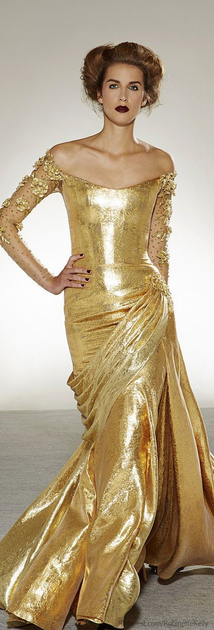 Georges Chakra ~ Off the Shoulder Shimmering Gold Gown Pre Fall 2015