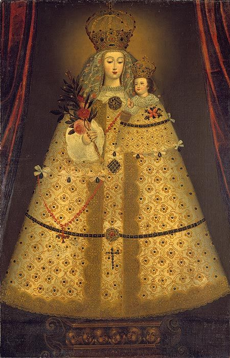 Virgin of the Rosary of Guápulo, ca. 1680 Peruvian (Cuzco) Oil on canvas