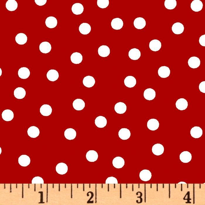 Laminated cotton fabric by the yard (similar to oilcloth but softer, more pliable and approved for use in childrens products) - White dots on red - from Robert Kaufman. A soft protective polyurethane film is laminated to the face of the fabric and is used for raincoats, bibs, splat mats, art mats, shower curtains, tablecloths, placemats and more. This laminate meets the key provisions of the CPSIA for lead and phthalates - It is soft - pliable - durable - and easy care. BPA free.  Width…