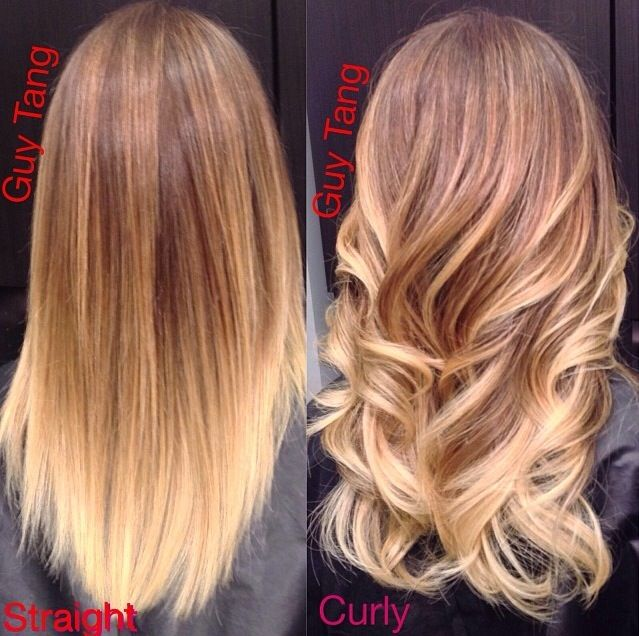 Guy tang balayage ombre Good example to show clients the difference between curled and straight as far as dimension of color