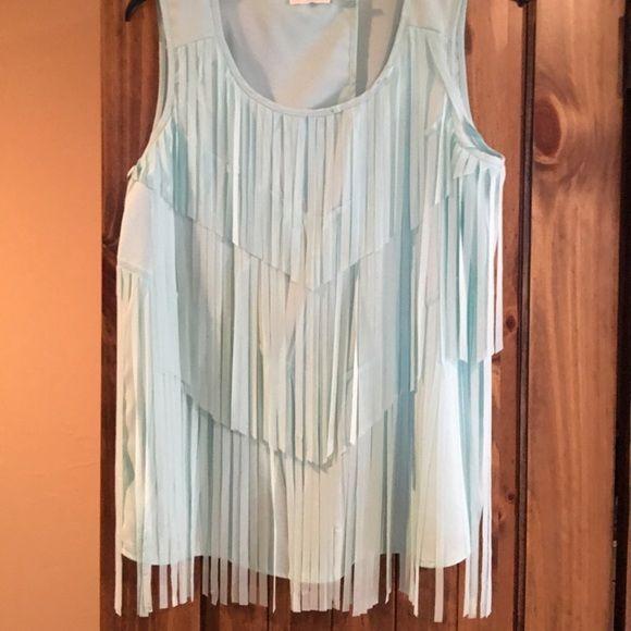 Aqua blue fringe blouse Sleeveless Aqua blue fridge blouse, slit back, never worn. Size medium.  Hits below waist. Blu Pepper Tops Blouses