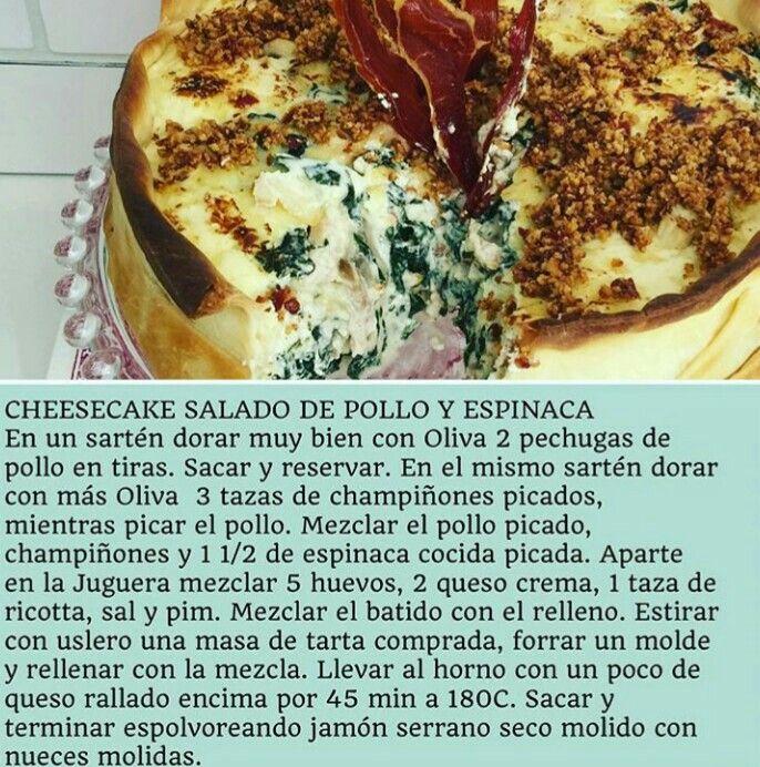 Cheeskake de Pollo y Espinacas por Virginia De María