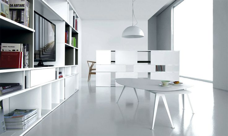 white TV living room bookcase, modules that allow you to personalise your room, placed side by side or on top of one other, based on your requirements